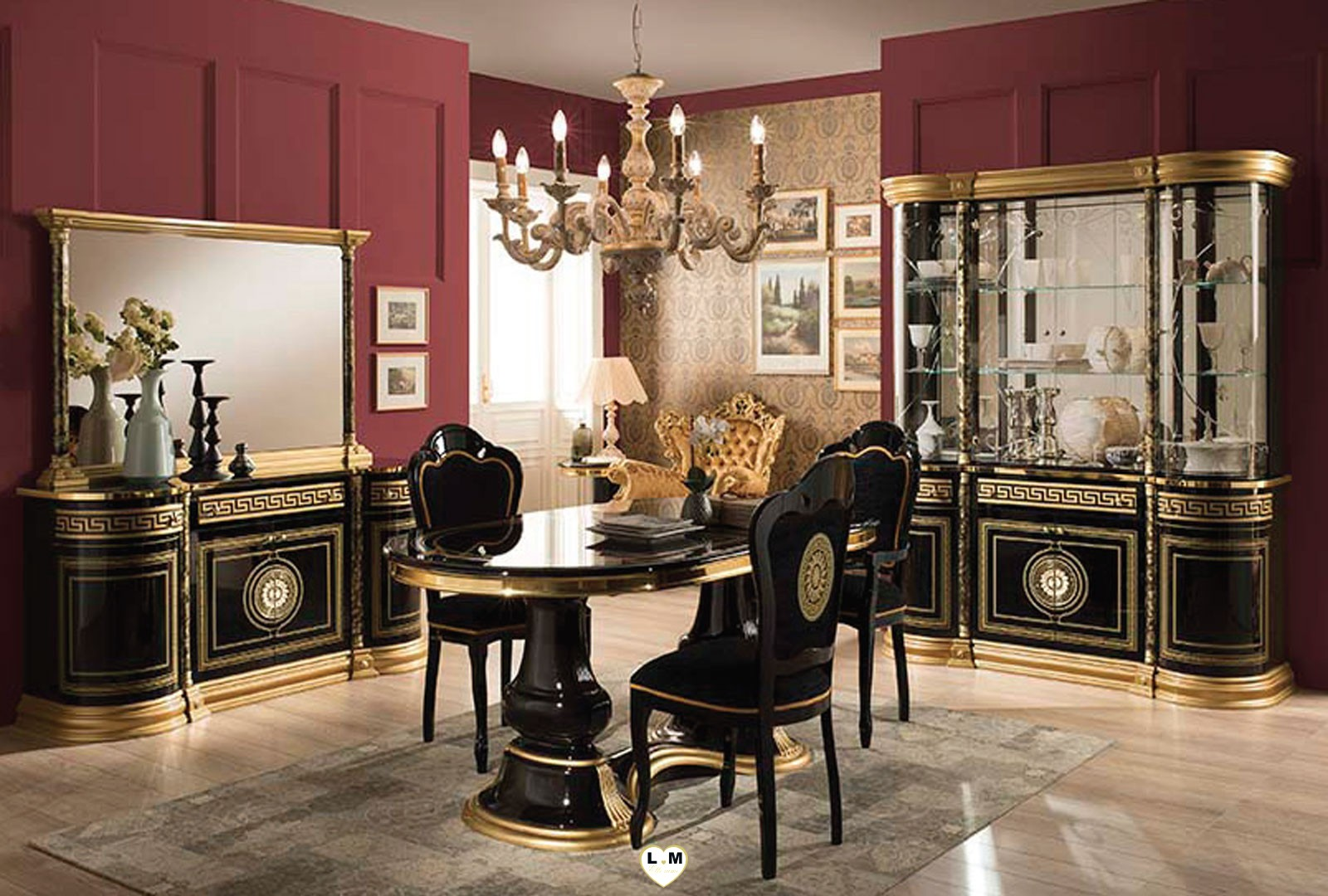 versus laque noir et dore salle a manger baroque la. Black Bedroom Furniture Sets. Home Design Ideas