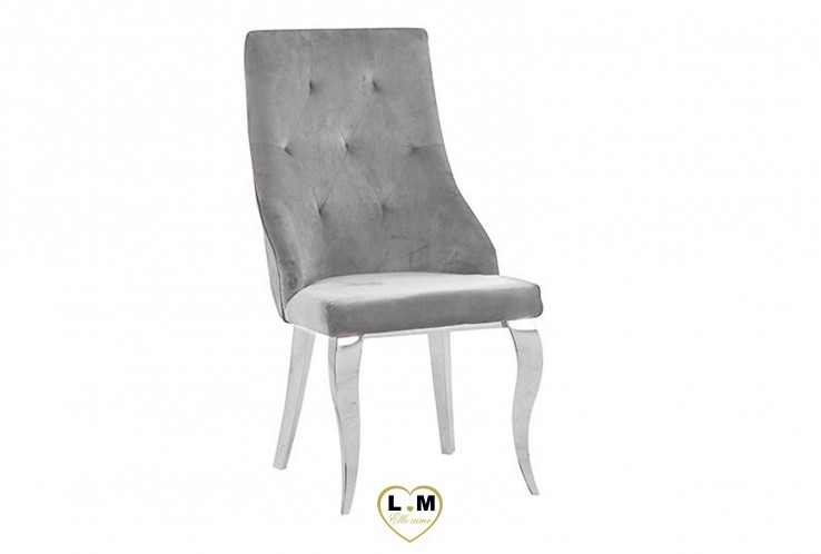 SIMON CHAISE VELOURS GRIS ( VENDU PAR 4 )