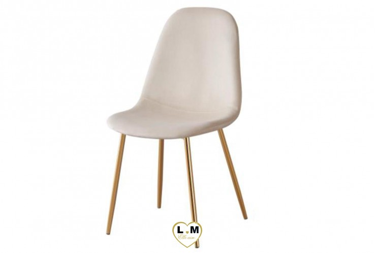 CHAISE SCANDINAVE GOLD VELOURS BEIGE ( VENDU PAR 4 )