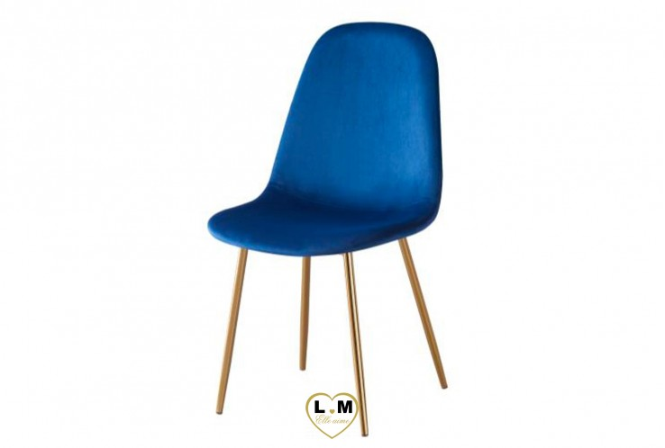 CHAISE SCANDINAVE GOLD VELOURS BLEU ( VENDU PAR 4 )
