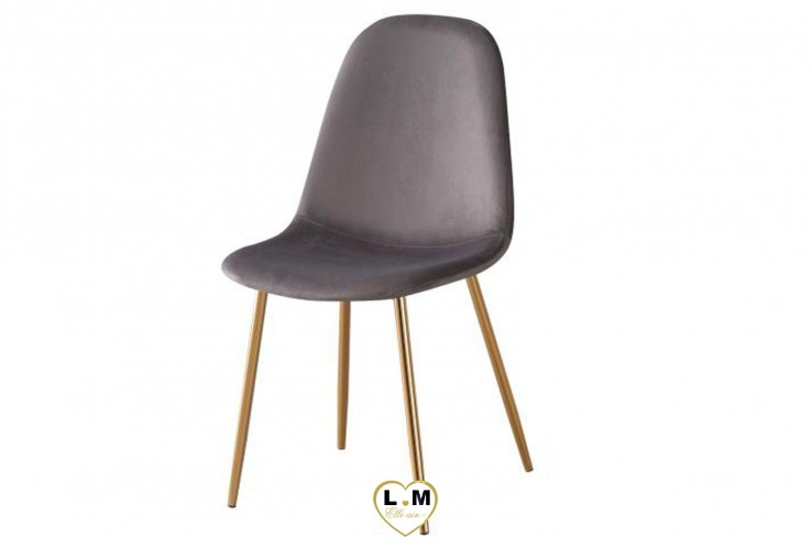 CHAISE SCANDINAVE GOLD VELOURS GRIS ( VENDU PAR 4 )