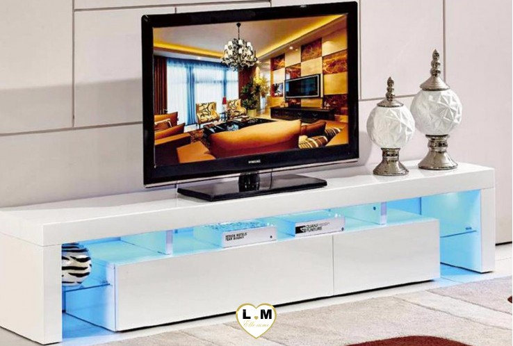 SIMON MEUBLE TV LEDS BLANC