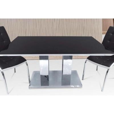 TABLE REPAS INOX NOIR