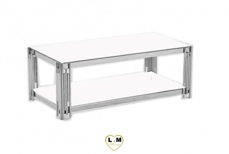 HUDE TABLE BASSE INOX BLANC