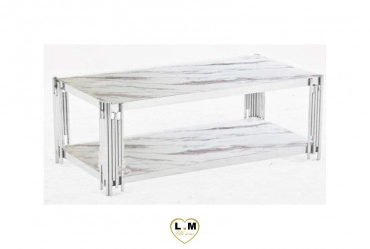 HUDE TABLE BASSE INOX MARBRE BLANC