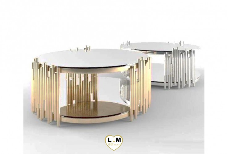 CLAM CONSOLE GOLD BLANC