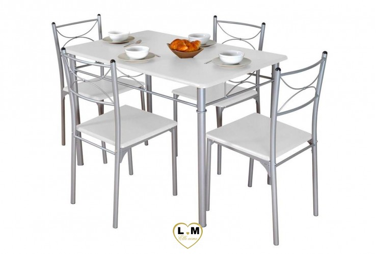 ENSEMBLE TABLE DE CUISINE BLANC