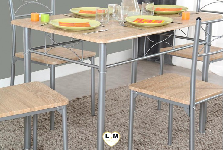 NANCY ENSEMBLE TABLE DE CUISINE CHENE GRIFFEE