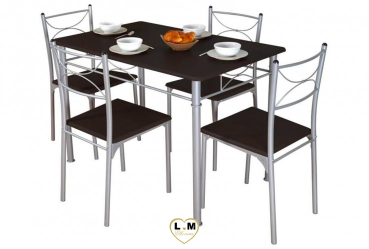 NANCY ENSEMBLE TABLE DE CUISINE WENGUE