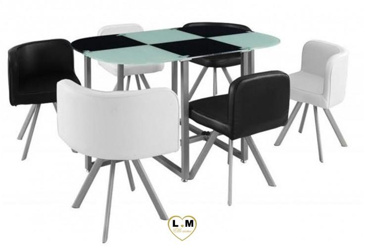 NOLEN ENSEMBLE TABLE REPAS NOIR ET BLANC 6 PLACES