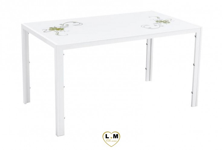 PINCHARD TABLE REPAS BLANC FLEURI