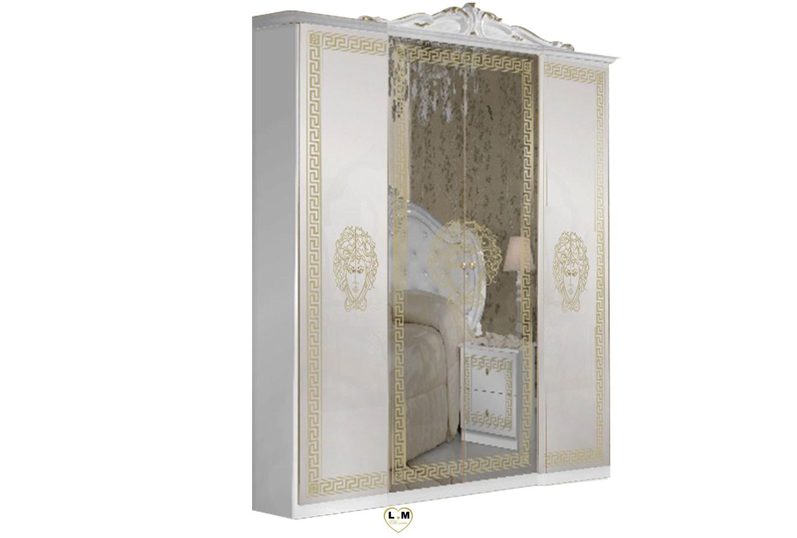 Tanit Laque Blanc Et Dore Chambre A Coucher Baroque L Armoire 4 Portes Lignemeuble Com