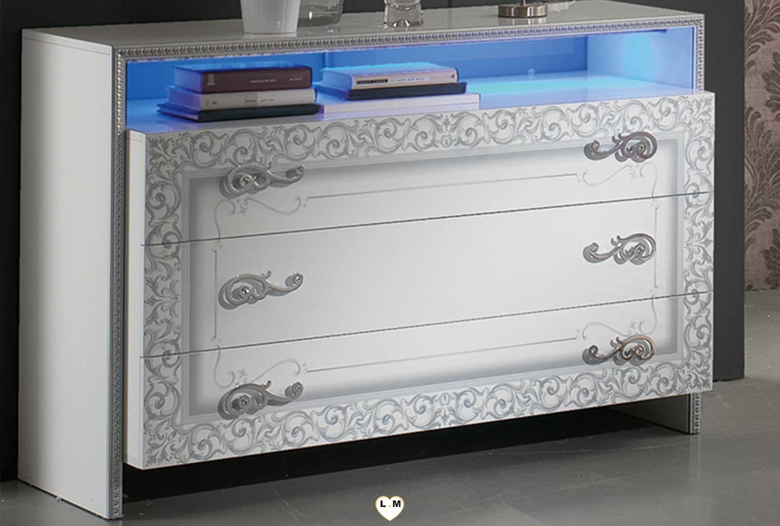 Taliana laque blanc et argent ensemble chambre a coucher for Ensemble armoire commode chambre