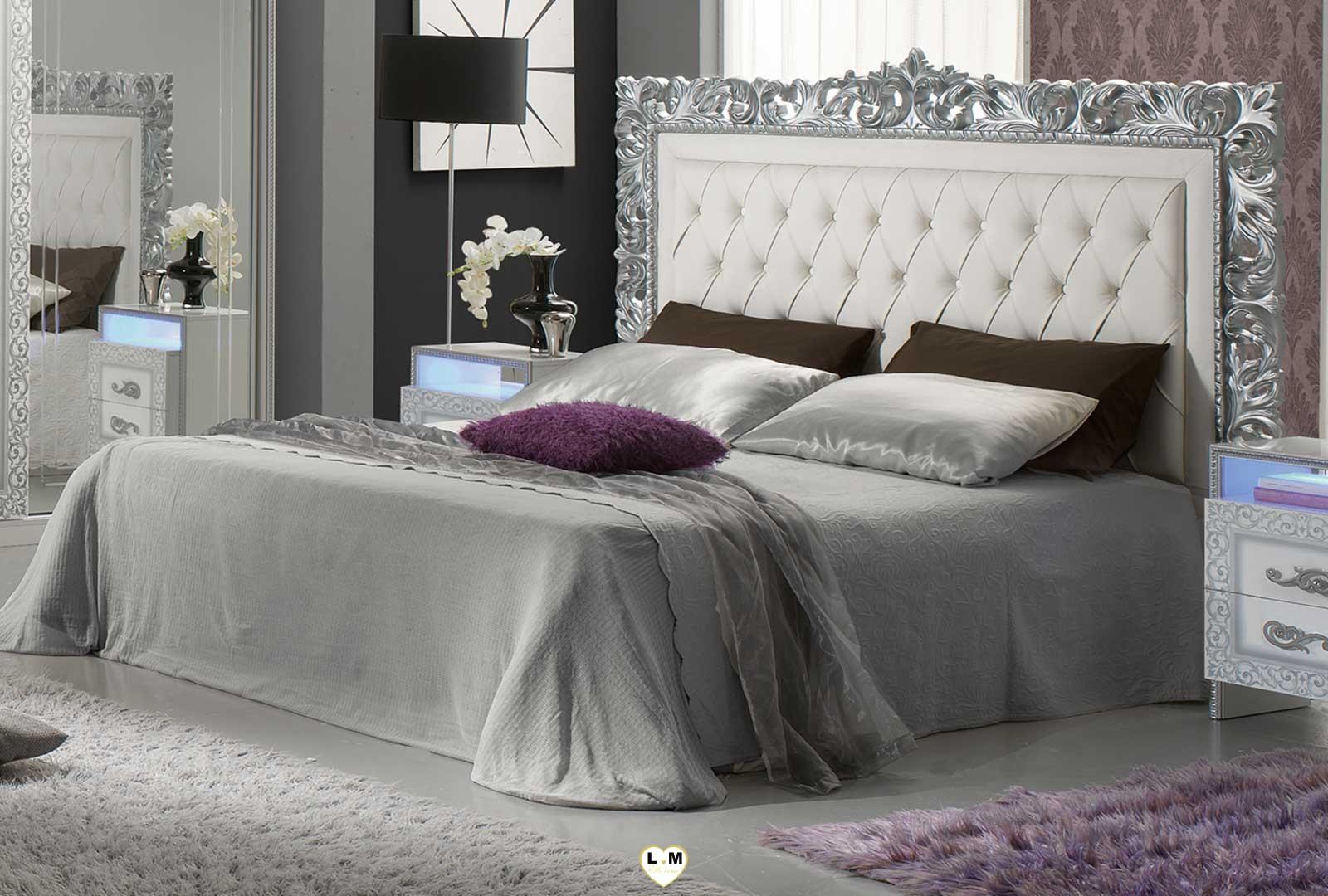 Taliana laque blanc et argent ensemble chambre a coucher for Ensemble chambre a coucher