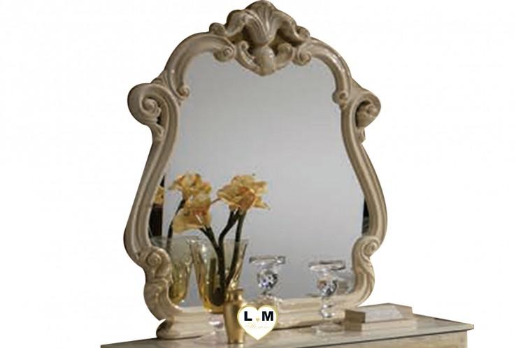TEA LAQUE BEIGE CHAMBRE A COUCHER: LE MIROIR - Encadrement décoratif - L: 95 - P: 7 - H: 115cm.