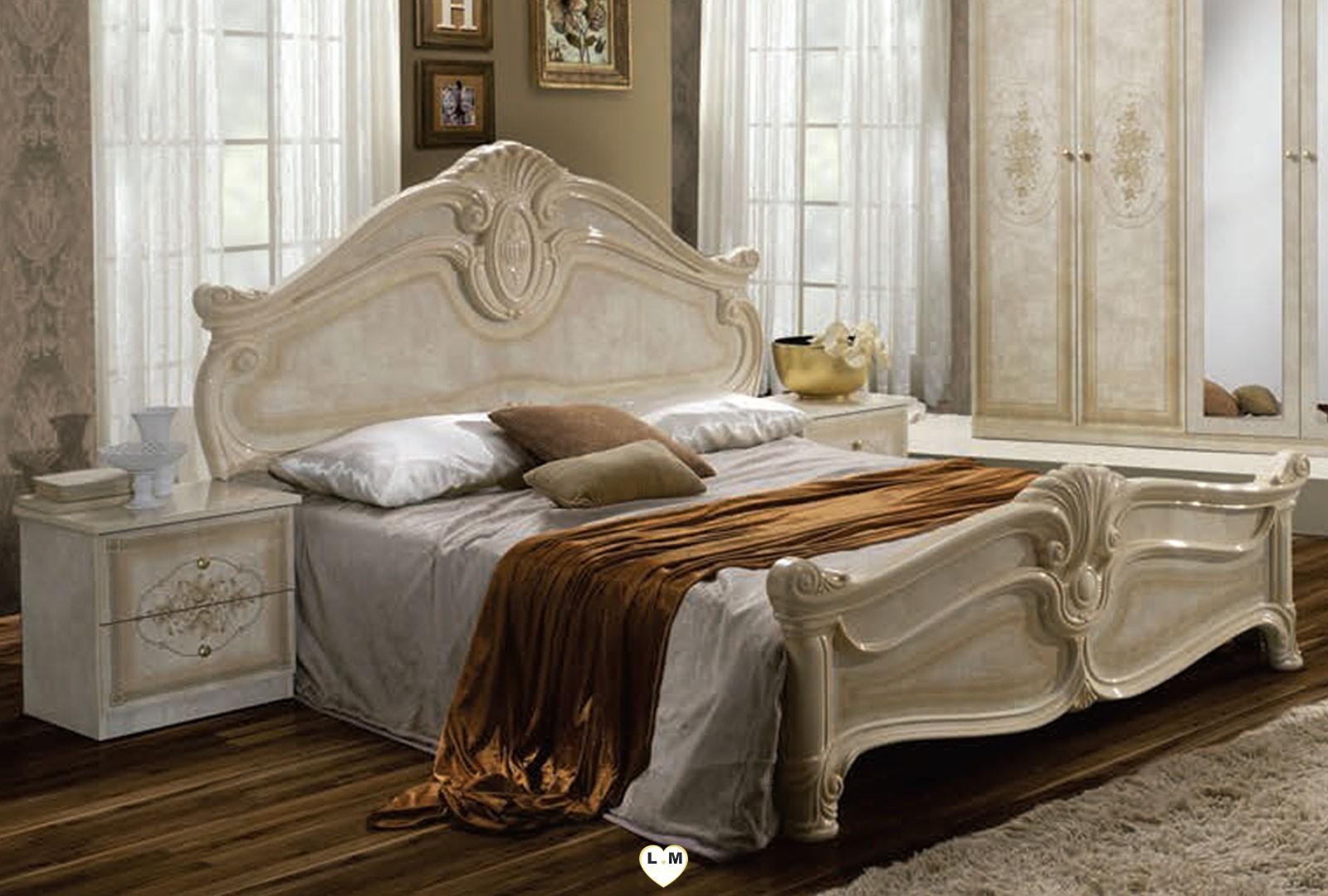 Tea laque beige ensemble chambre a coucher lignemeuble com for Chambre a coucher beige