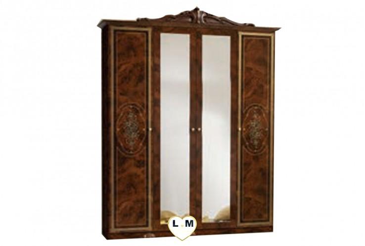 TEA LAQUE NOYER CHAMBRE A COUCHER: L' ARMOIRE 4 PORTES - 2 Portes pleines et 2 Portes miroirs centrales  - Sérigraphie sur facade - Corniche - L: 177 - P: 57 - H: 207cm