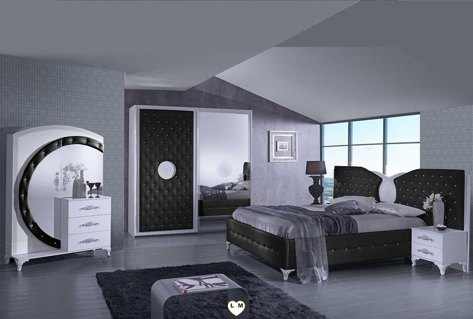 Tana noir et blanc chambre a coucher l 39 armoire for Chambre a coucher noir et blanc