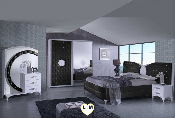 tana noir et blanc composition ensemble meuble chambre a coucher lignemeuble com. Black Bedroom Furniture Sets. Home Design Ideas