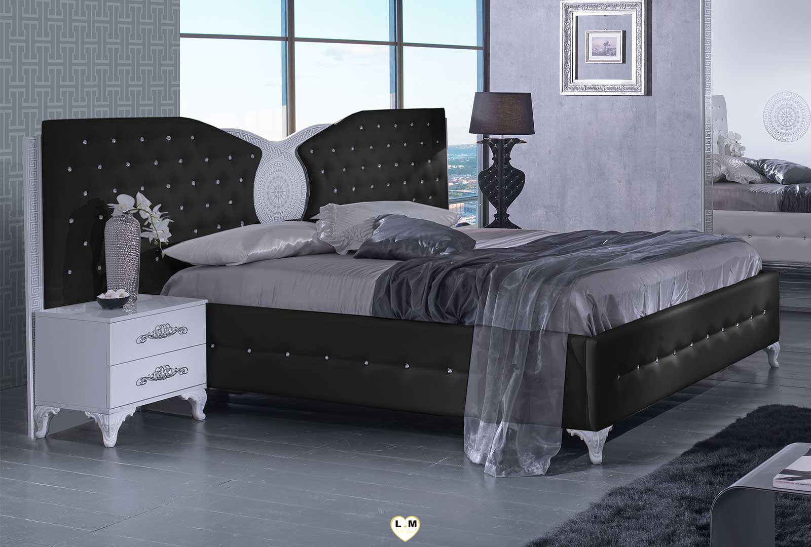 tana noir et blanc chambre a coucher le lit lignemeuble com. Black Bedroom Furniture Sets. Home Design Ideas