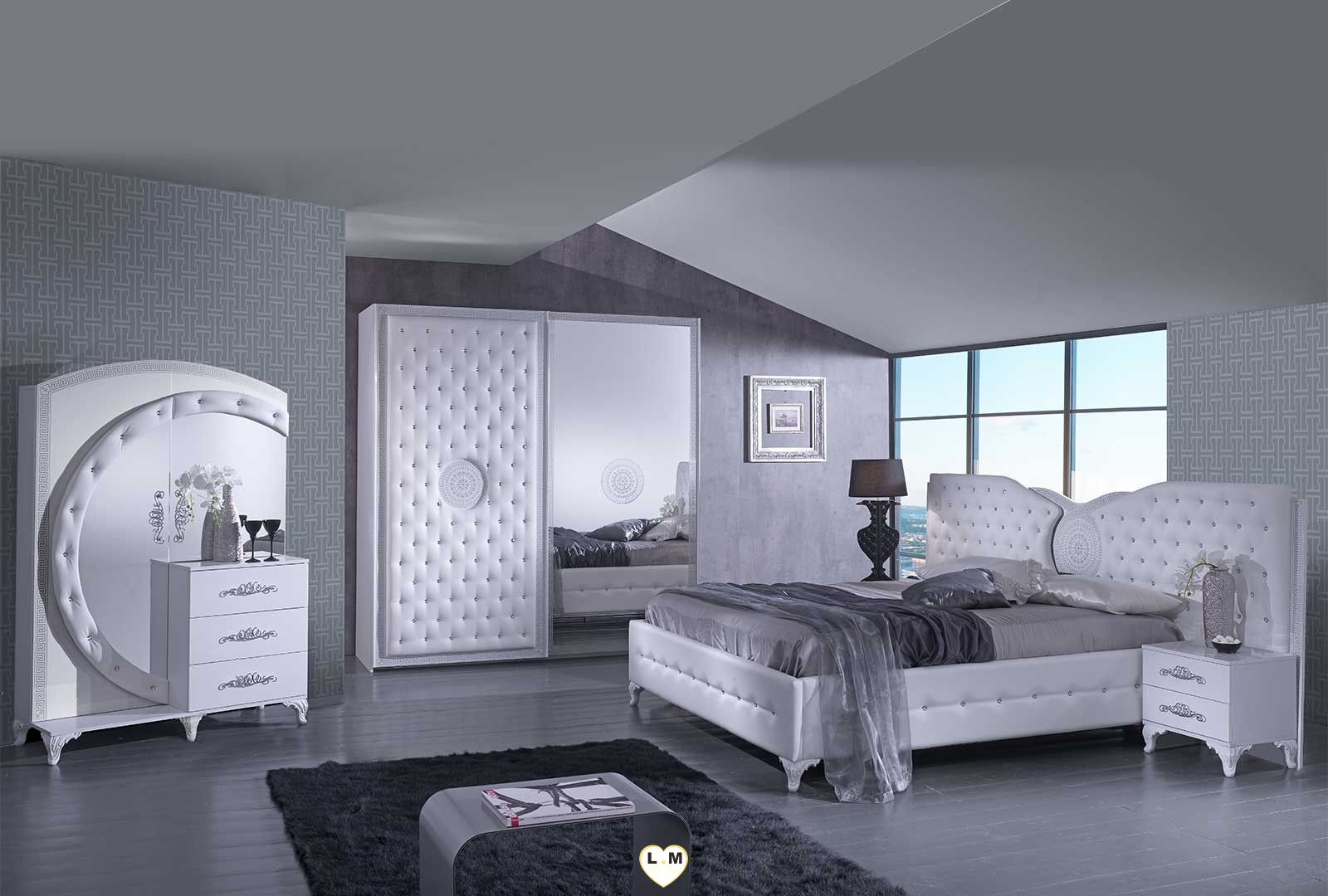 Tana blanc composition ensemble meuble chambre a coucher for Meuble chambre a coucher