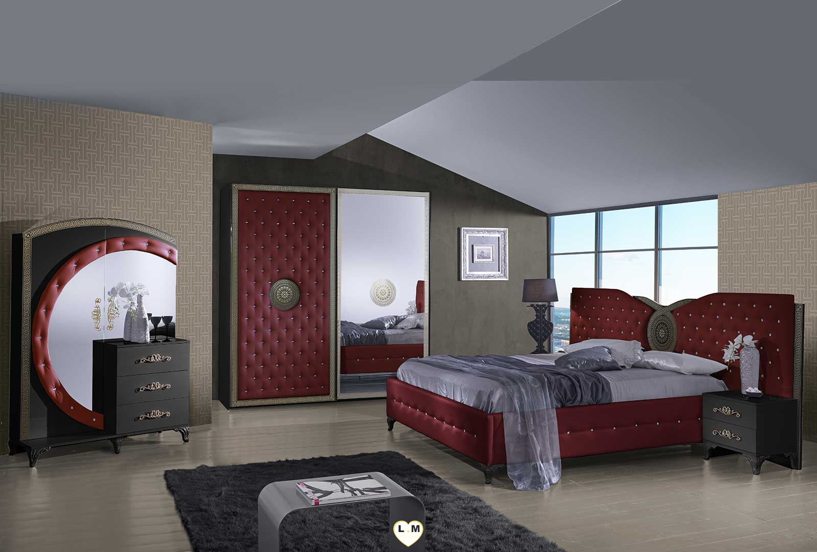 tana bordeaux et noir chambre a coucher le chevet lignemeuble com. Black Bedroom Furniture Sets. Home Design Ideas