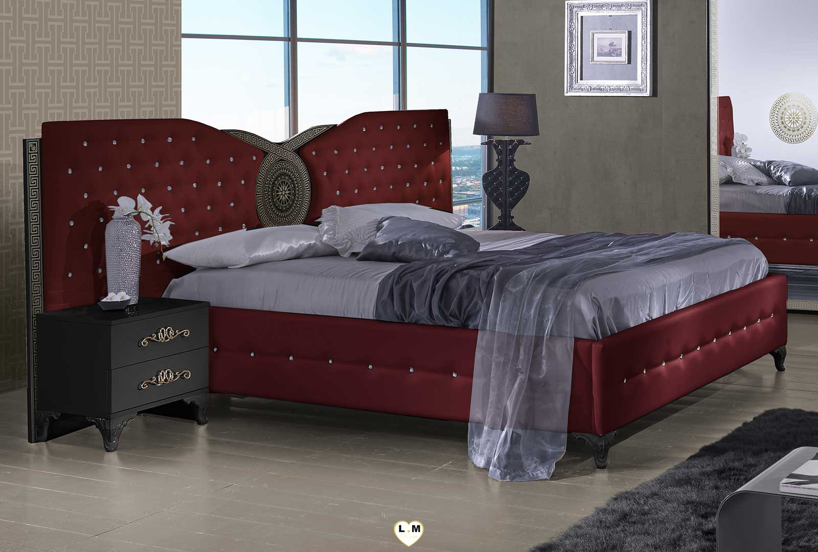 tana bordeaux et noir chambre a coucher le lit lignemeuble com. Black Bedroom Furniture Sets. Home Design Ideas