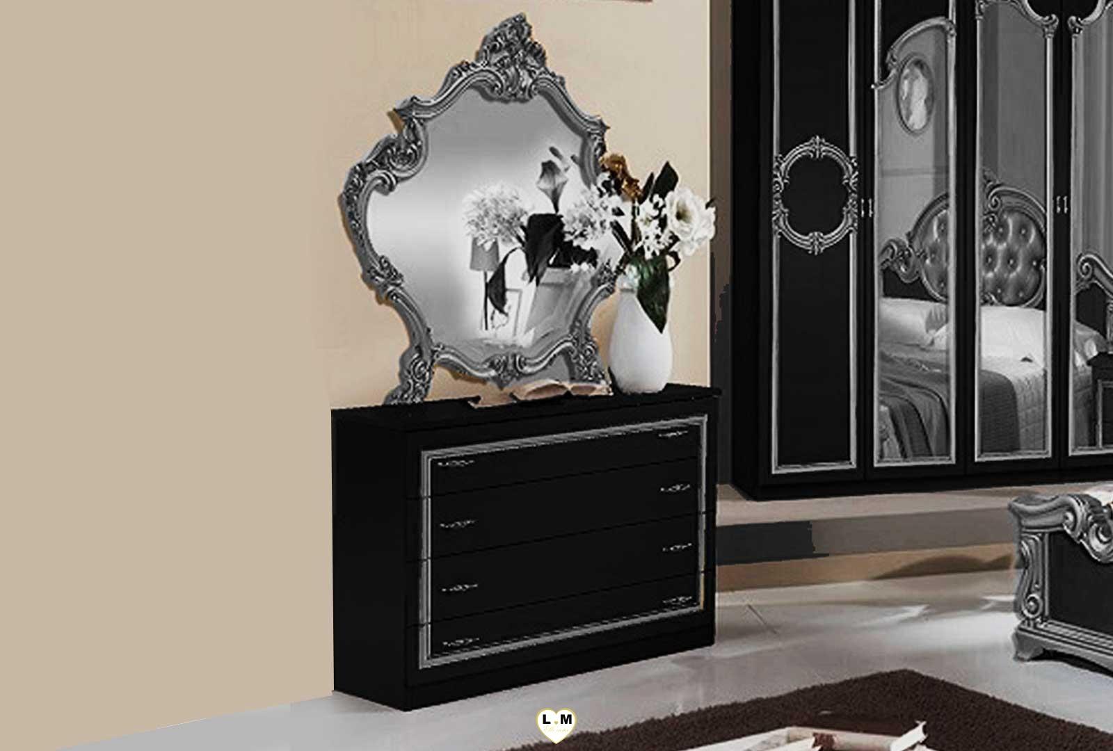 taylor laque noir et argent ensemble chambre a coucher. Black Bedroom Furniture Sets. Home Design Ideas