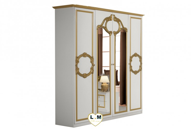 TAYLOR LAQUE BLANC ET DORE CHAMBRE A COUCHER: L' ARMOIRE 4 PORTES - 2 Portes pleines et 2 Portes centrales miroir -  Corniche dorée haut armoire - Décoration dorée en façade - L: 177 - P: 57 - H: 218 cm.