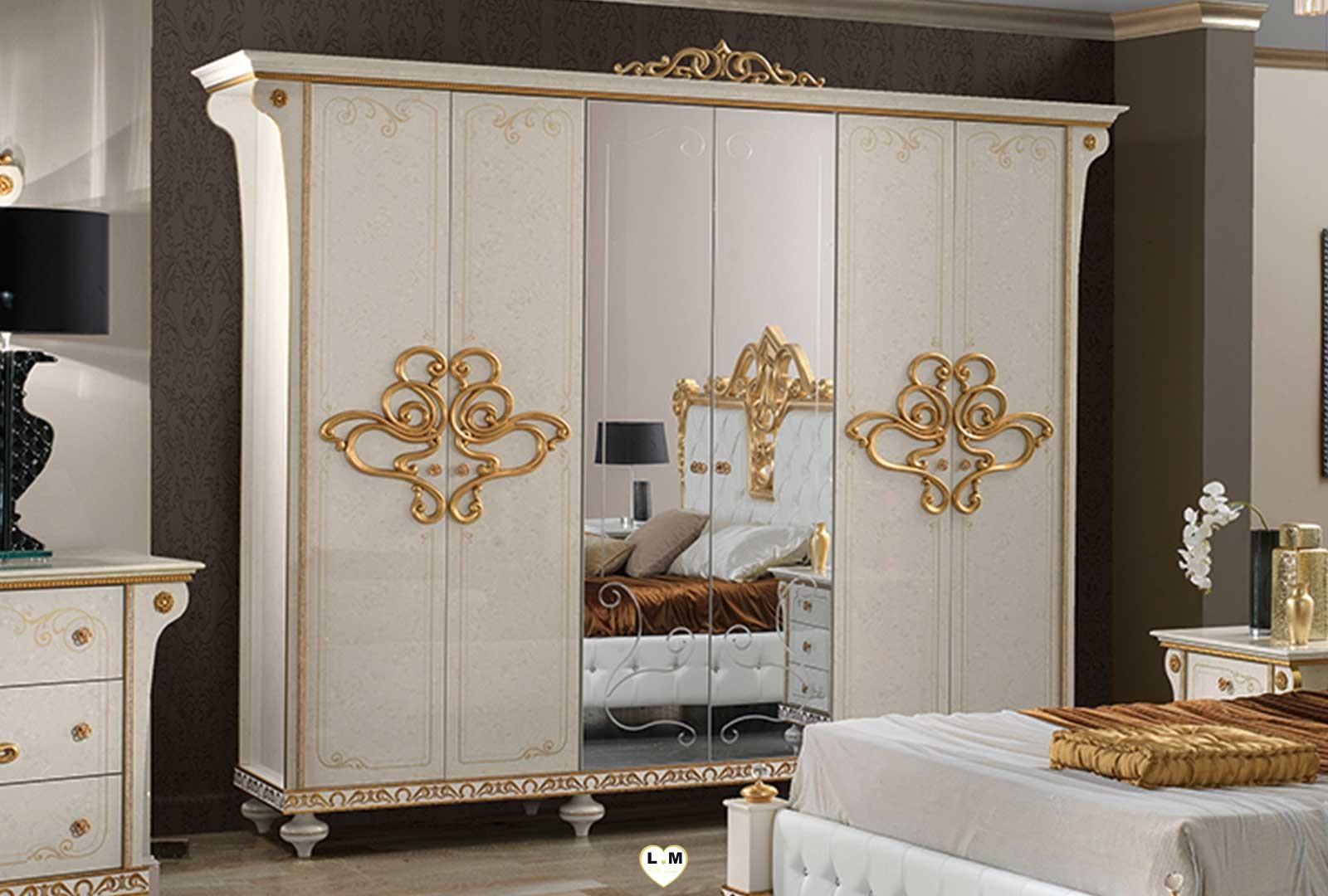 Tatiana laque ivoire et dore ensemble chambre a coucher for Chambre a coucher ensemble