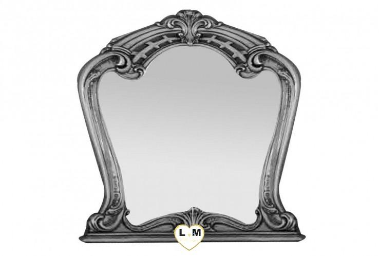 THALIA LAQUE BLANC MAT ET ARGENT CHAMBRE A COUCHER: LE MIROIR - Encadrement décoration dorées - L: 92 - P: 6 - H: 104cm.