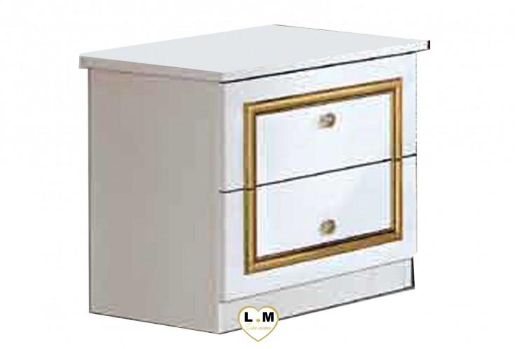 THALIA LAQUE BLANC MAT ET DORE CHAMBRE A COUCHER: LE CHEVET - 2 Tiroirss - Poignés boutons et décoration dorées - L: 50 - P: 39 - H: 49cm.