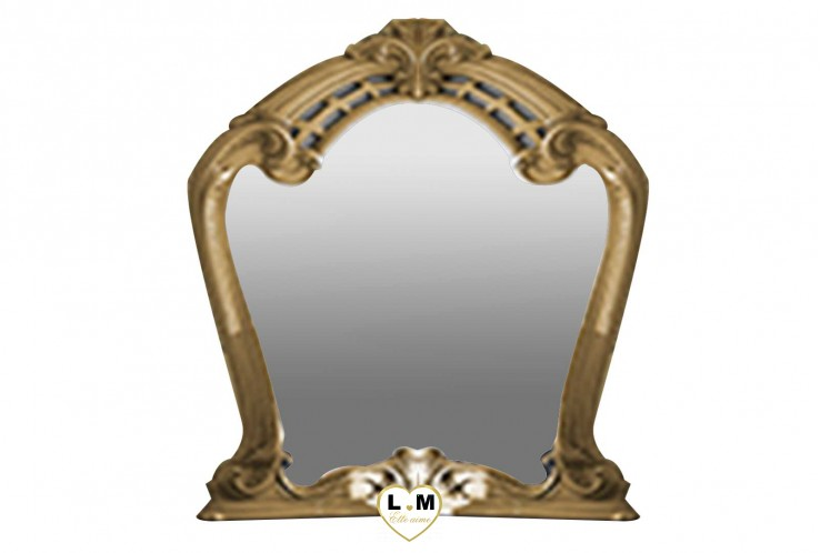 THALIA LAQUE NOIR MAT ET DORE CHAMBRE A COUCHER: LE MIROIR - Encadrement décoration dorées - L: 92 - P: 6 - H: 104cm.