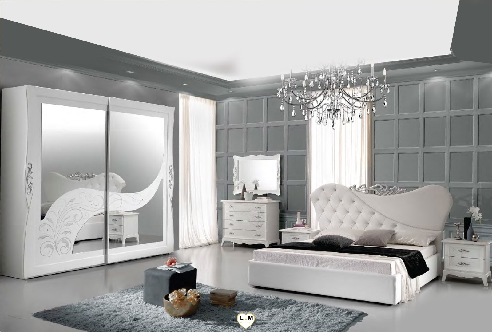 tessy laque blanc mat et argent ensemble chambre a coucher. Black Bedroom Furniture Sets. Home Design Ideas