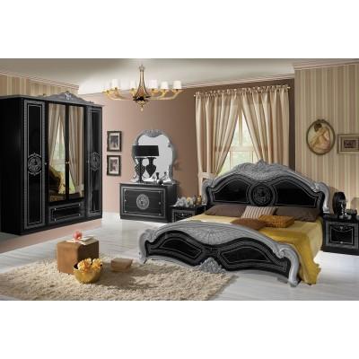 Thya laque noir et argent ensemble chambre a coucher - Chambre a coucher noir ...