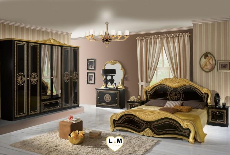 THYA LAQUE NOIR ET DORE CHAMBRE A COUCHER: L' ENSEMBLE avec L' Armoire 6 portes + Le Lit 160/200 + 2 Chevets + La Commode + Le Miroir