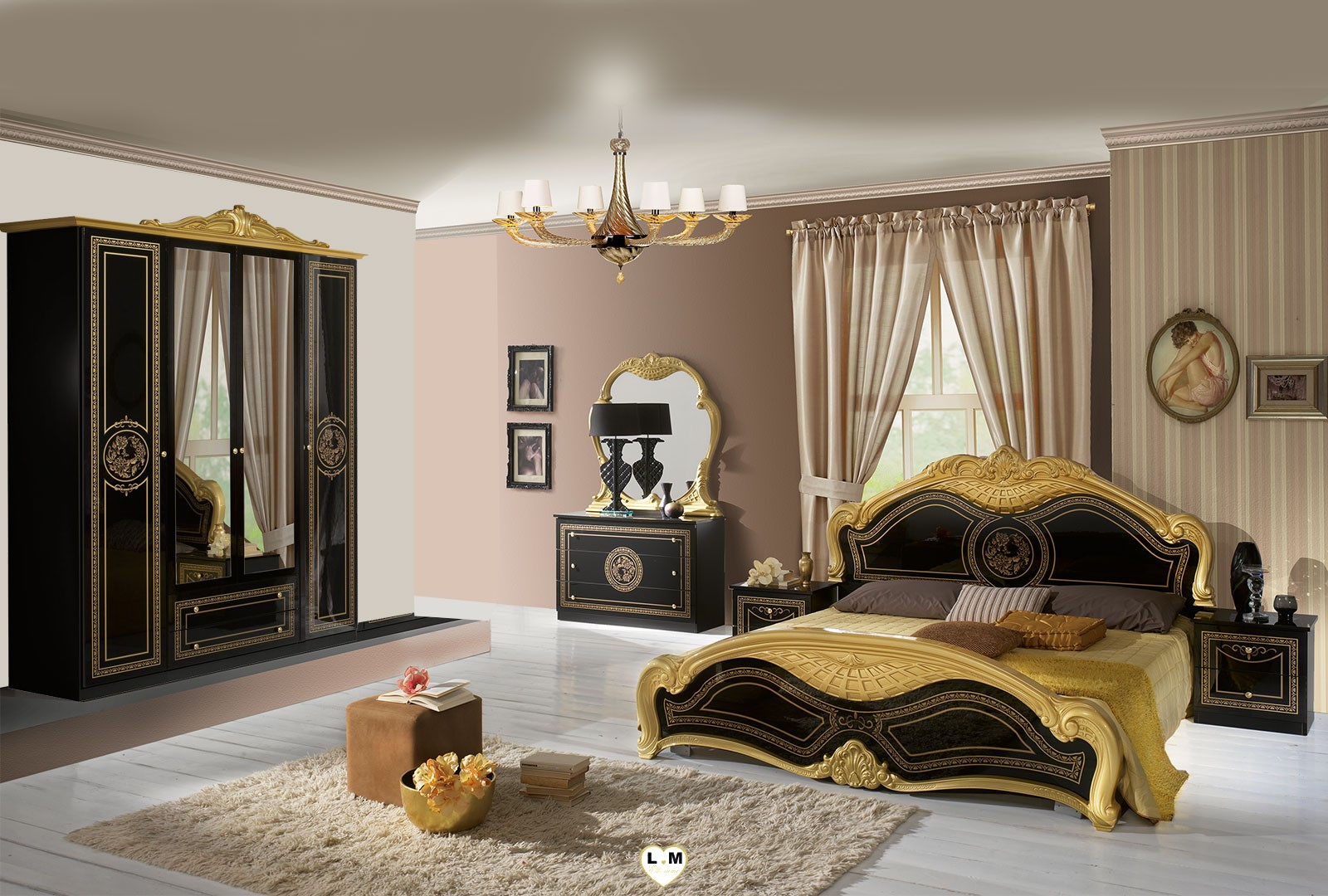 thya laque noir et dore ensemble chambre a coucher lignemeuble com. Black Bedroom Furniture Sets. Home Design Ideas
