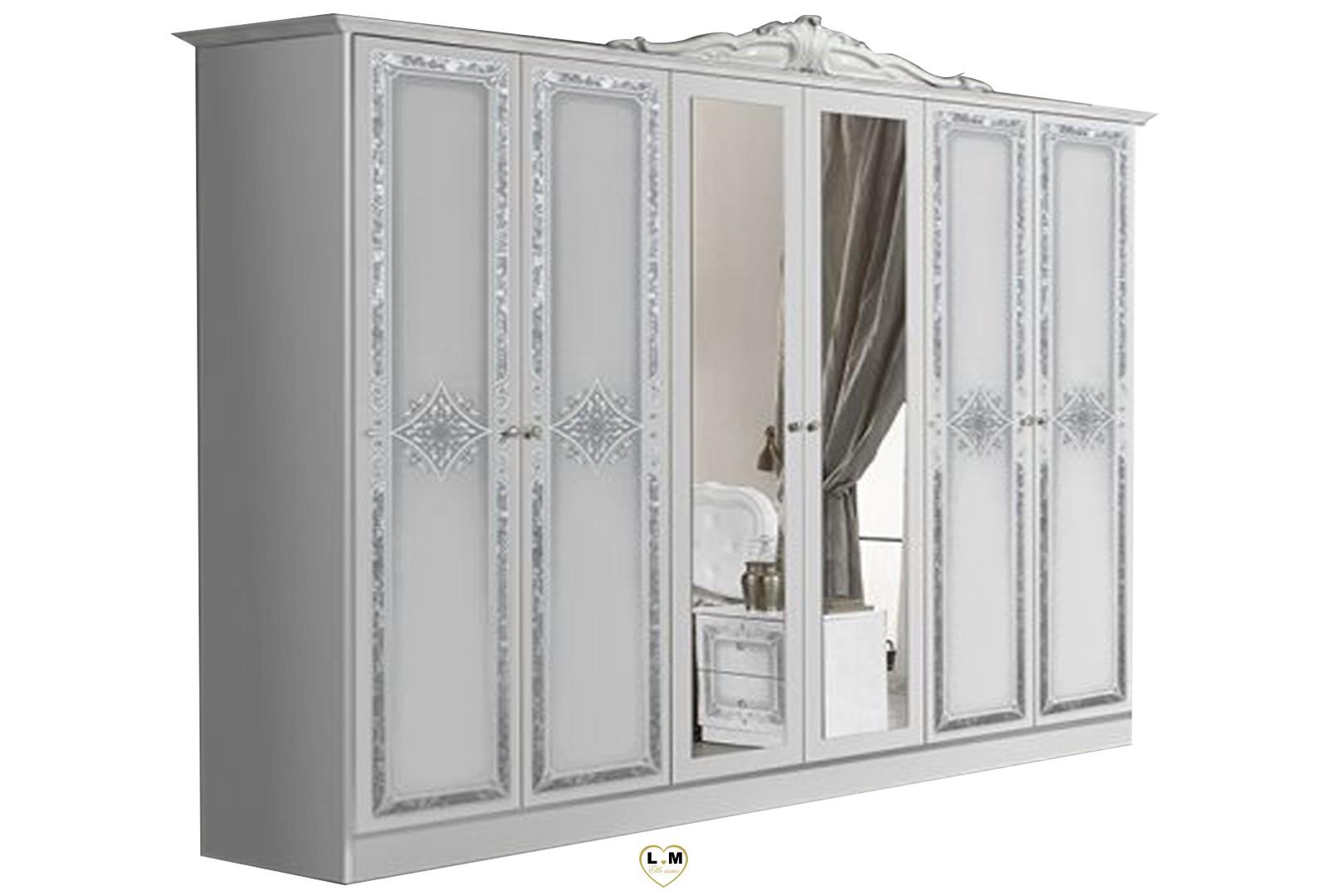 thyda laque blanc et argent chambre a coucher l 39 armoire 6 portes 4 portes pleines et 2. Black Bedroom Furniture Sets. Home Design Ideas