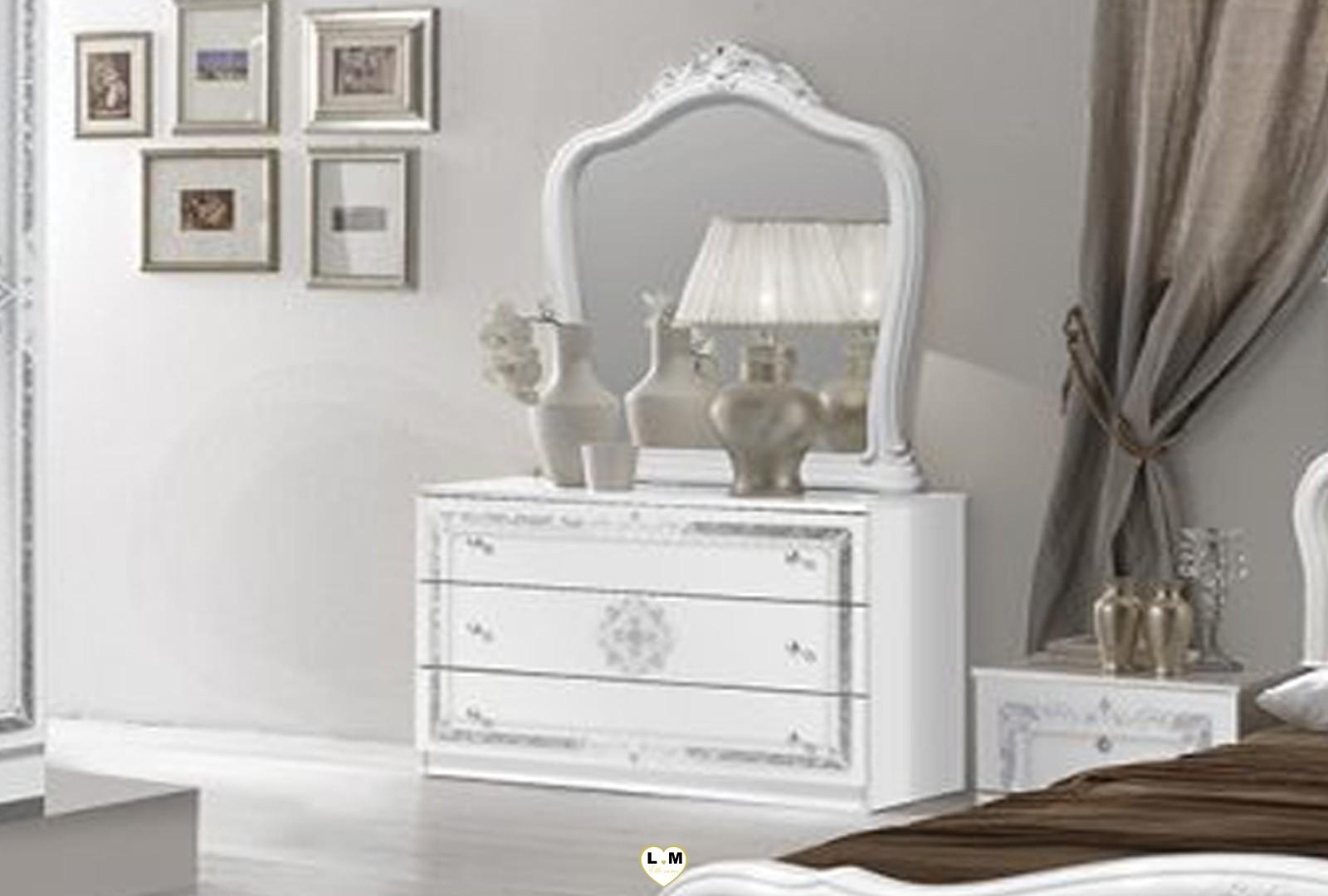 Thyda laque blanc et argent ensemble chambre a coucher - Chambre a coucher conforama blanc laque ...