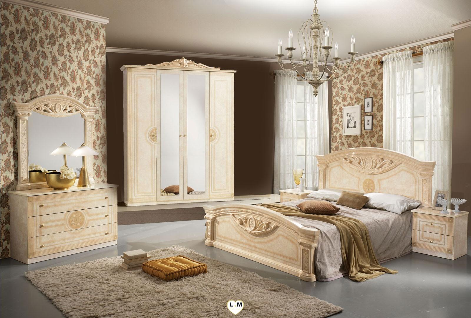 Teva laque beige nuage ensemble chambre a coucher for Ensemble chambre a coucher