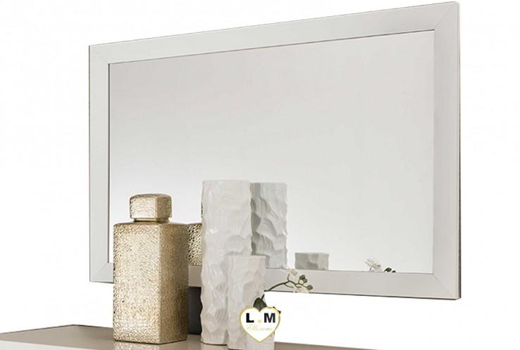 THOMAS LAQUÉ BLANC ET BEIGE CHAMBRE À COUCHER MODERNE : Le Miroir