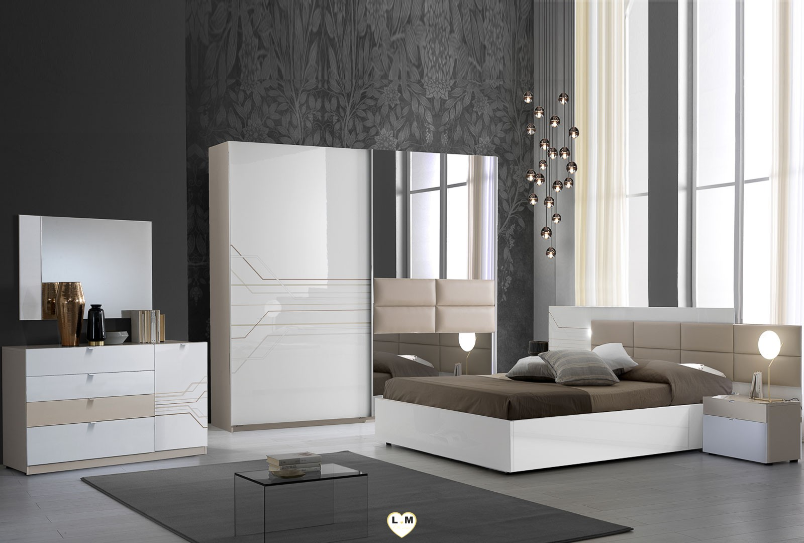 thomas laque blanc et beige ensemble chambre a coucher lignemeuble com. Black Bedroom Furniture Sets. Home Design Ideas
