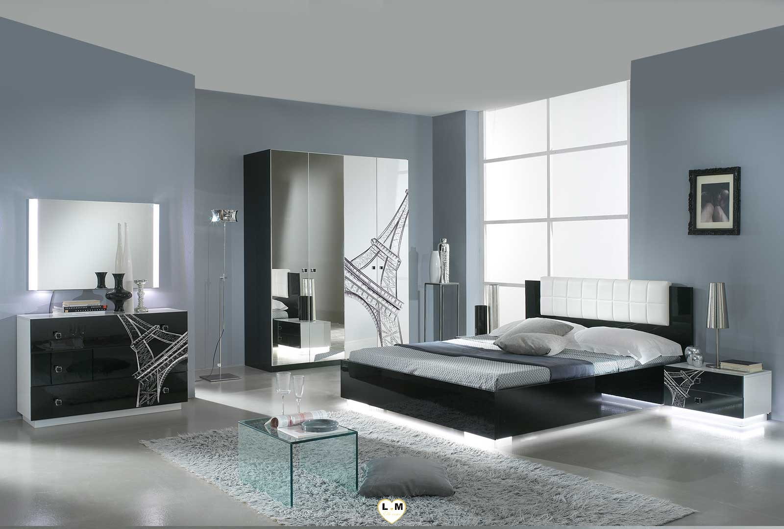 Tour eiffel laque blanc et noir ensemble chambre a coucher for Chambre design noir