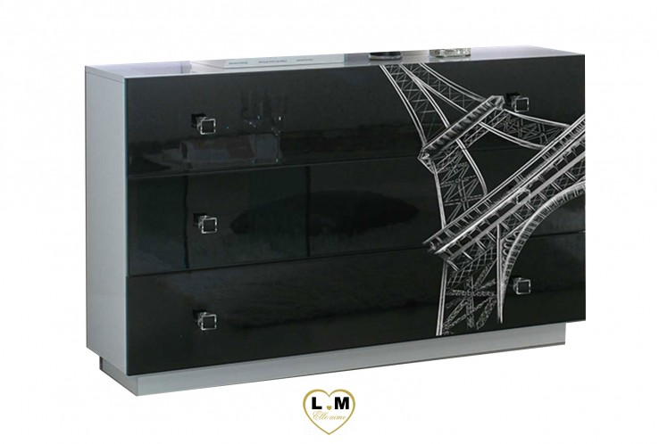 TOUR EIFFEL LAQUE BLANC ET NOIR CHAMBRE A COUCHER: LA COMMODE - 3 Tiroirs avec sérigraphie - Contour blanc et façade noire - L: 101 - P: 41 - H: 74cm.