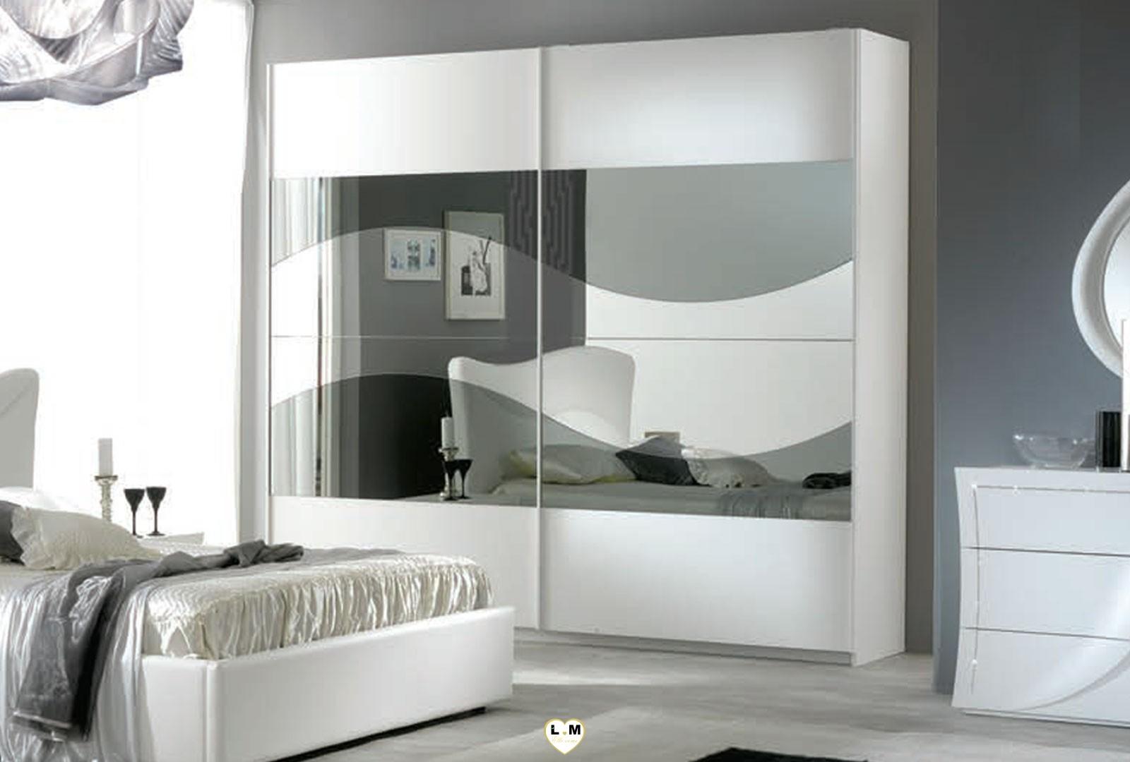 Tabata laque blanc ensemble chambre a coucher design - Chambre a coucher conforama blanc laque ...