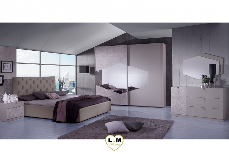 TERENCE TAUPE ENSEMBLE CHAMBRE À COUCHER DESIGN
