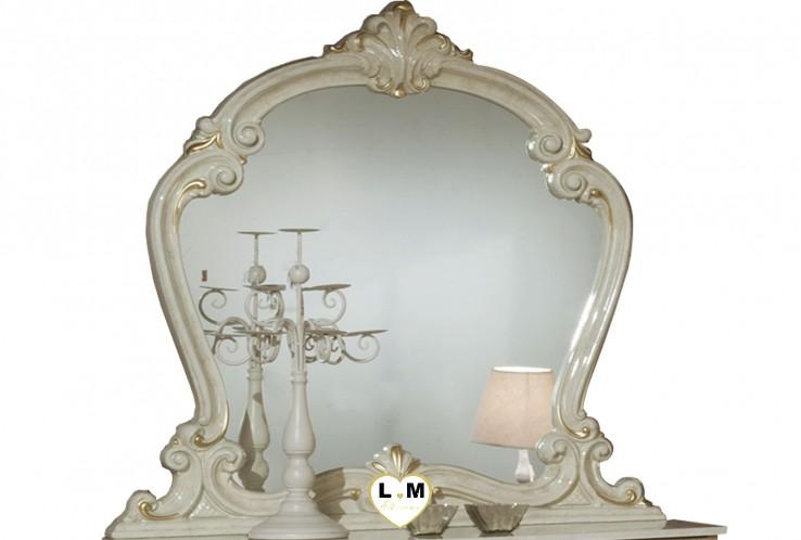 TATUM LAQUÉ IVOIRE CHAMBRE À COUCHER BAROQUE : Le Miroir