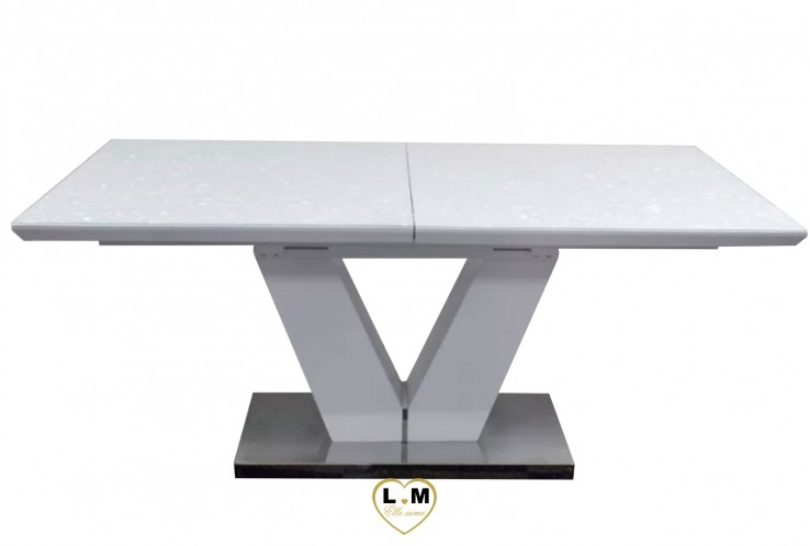 VICTORY TABLE REPAS ALLONGE LAQUÉ BLANC