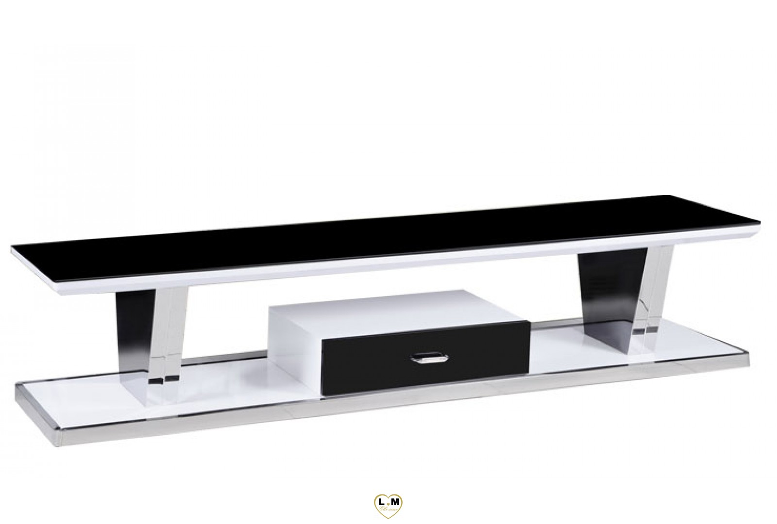 tv601 meuble tv chrome laque blanc verre noir lignemeuble com. Black Bedroom Furniture Sets. Home Design Ideas