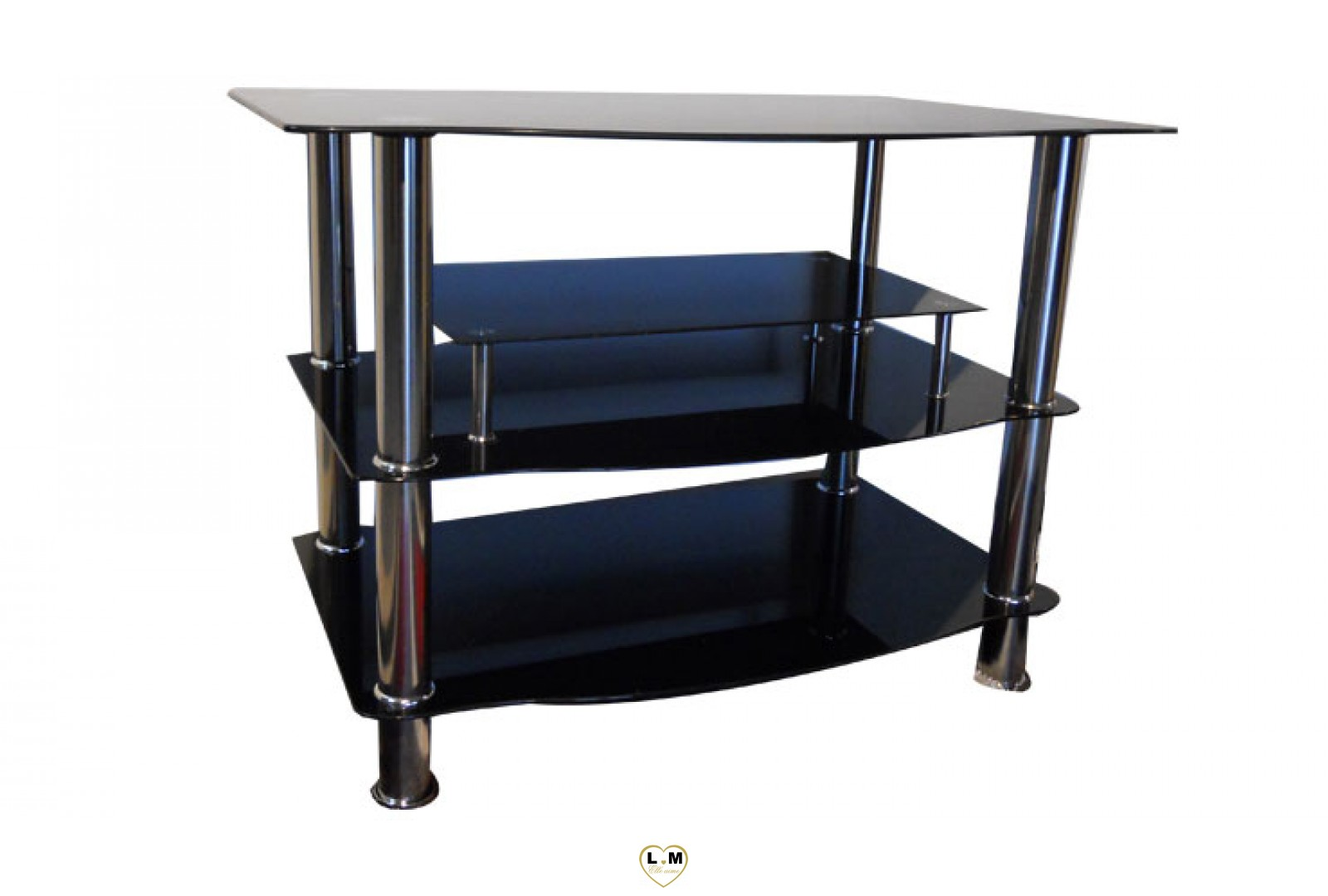tv907 meuble tv verre noir lignemeuble com. Black Bedroom Furniture Sets. Home Design Ideas